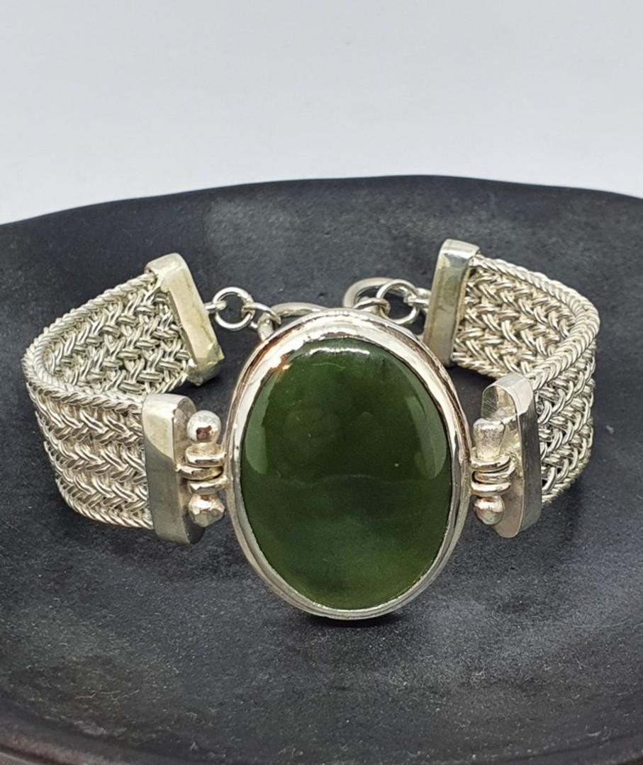 Made in New Zealand, silver greenstone bracelet image 4