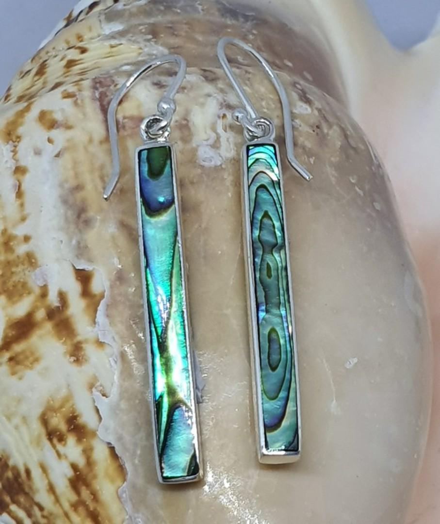 Sterling silver narrow paua shell hook earrings image 0