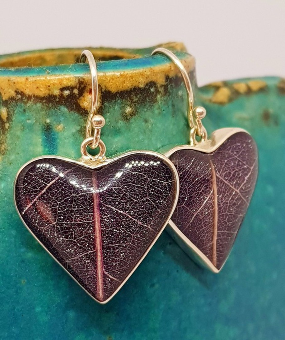 Purple skeleton leaf silver earrings - heart shaped image 3