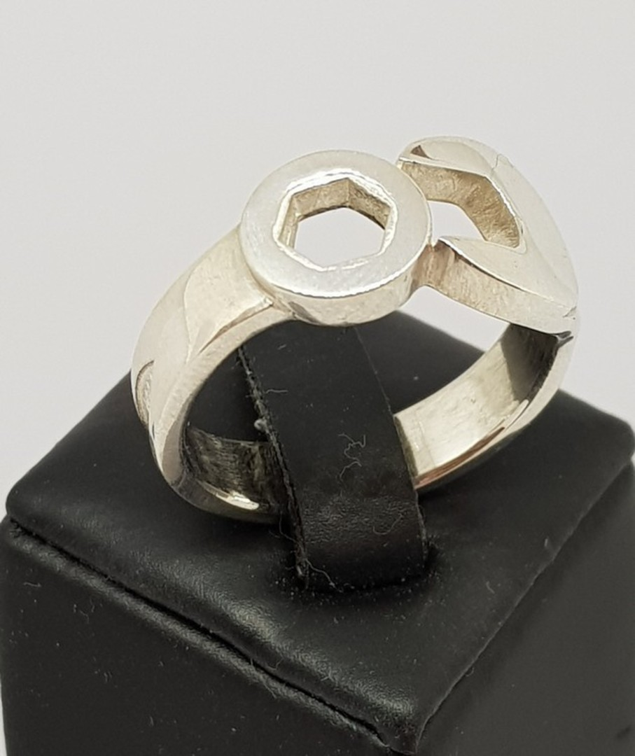 Men's sterling silver spanner ring , NZ made image 0