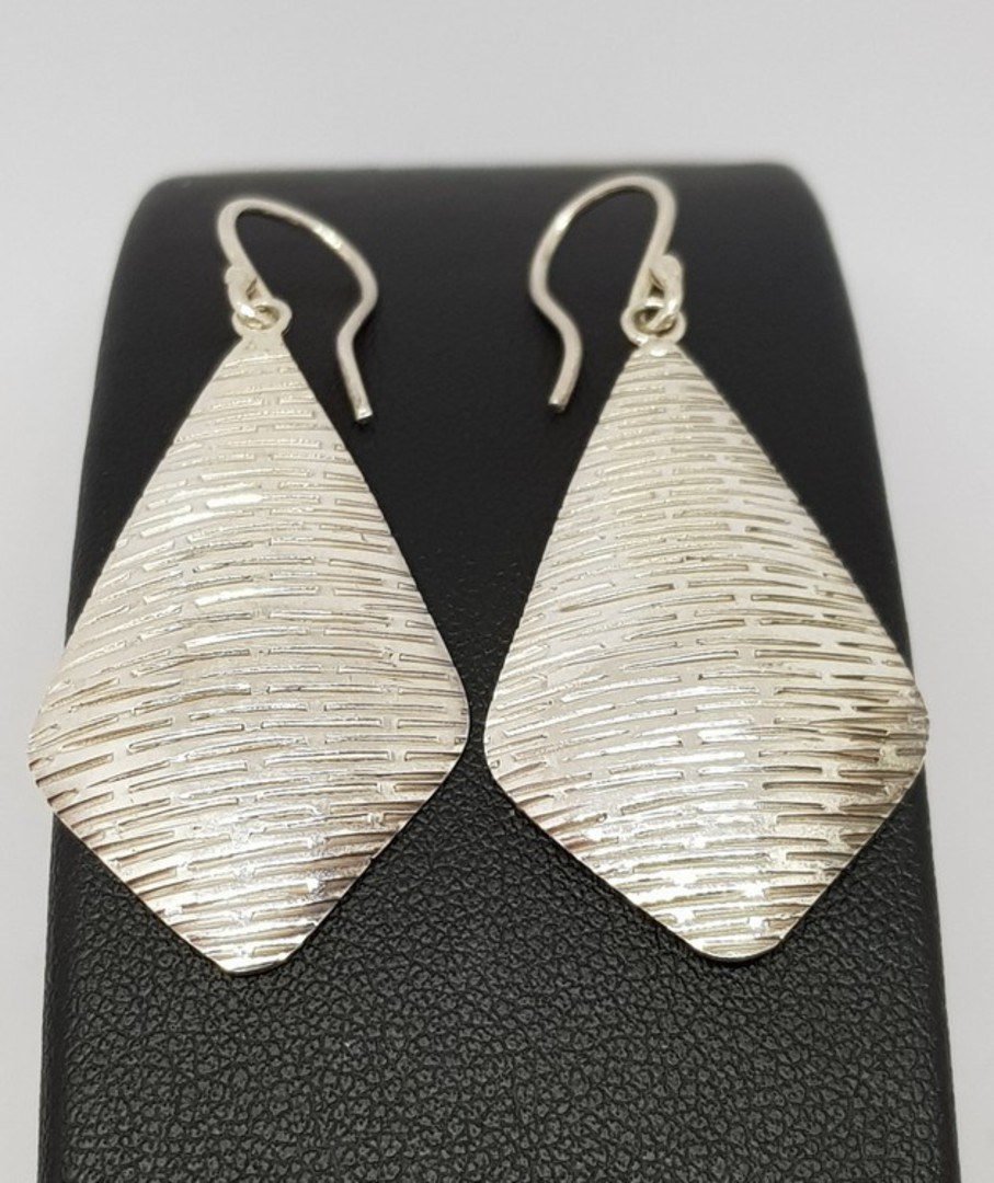 Sterling silver large, decorated kite shape hook earrings image 1