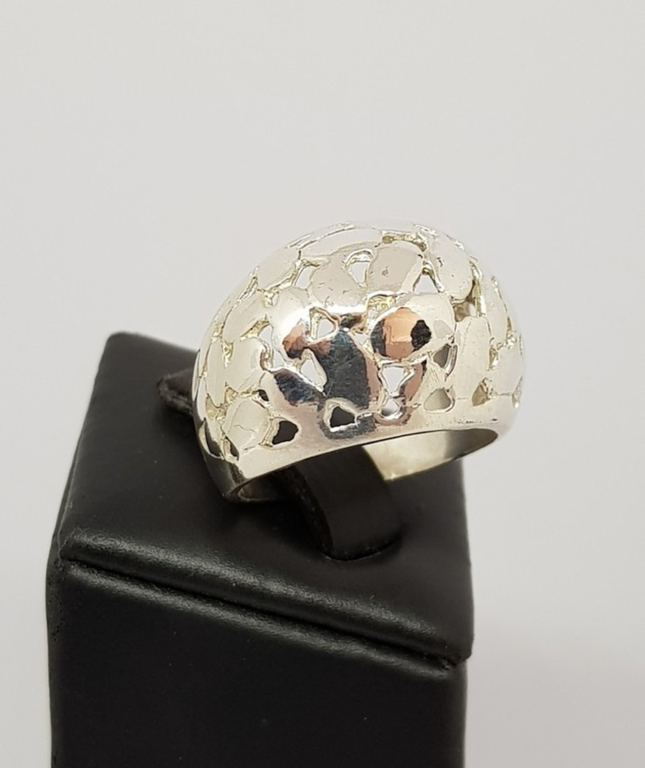 Sterling silver dome ring with cutout designs image 1