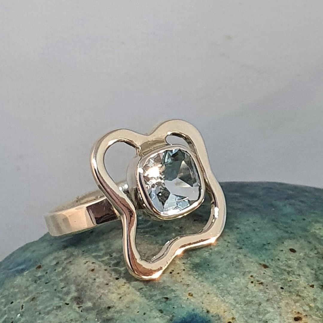 Sterling silver blue topaz ring - last 2 in stock image 5