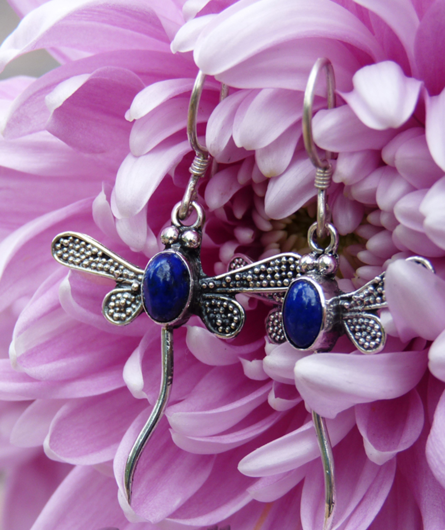 Lapis lazuli dragonfly earrings image 0
