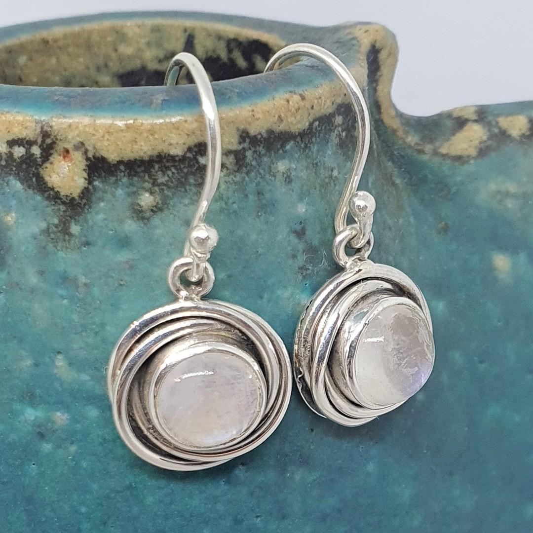 Circular silver moonstone earrings image 0