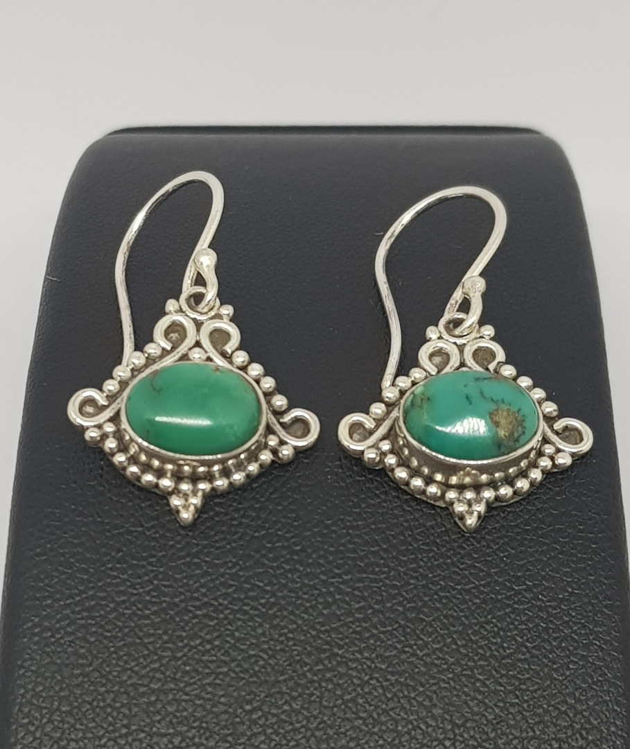 Sterling silver turquoise earrings with filigree setting image 1