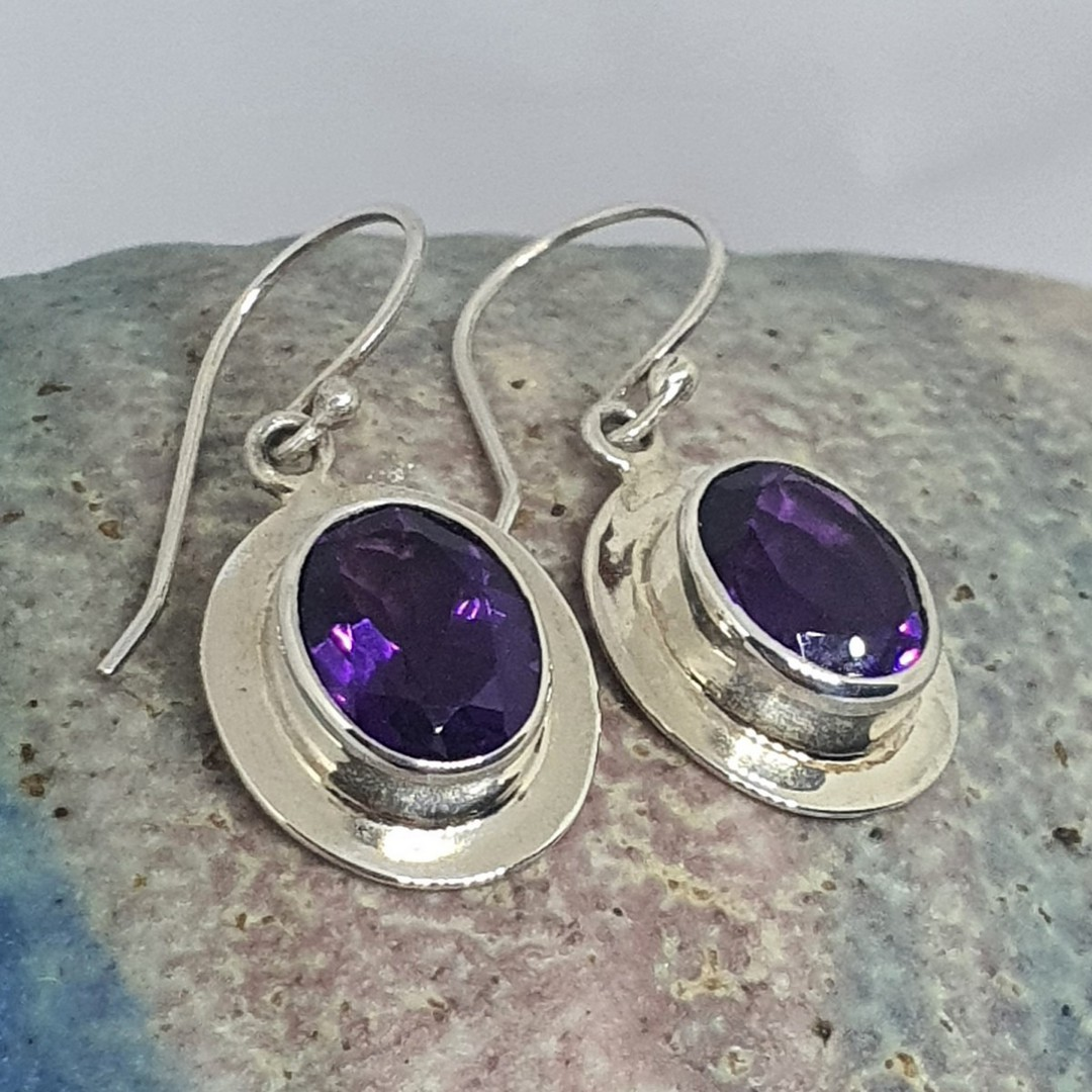 Silver Amethyst Earrings | Passion starts here image 0