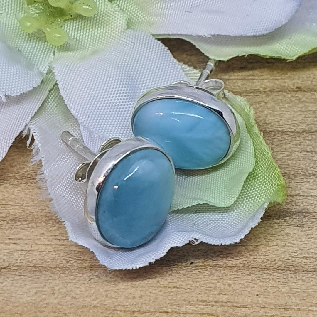 Cute little oval larimar gemstone stud earrings image 0