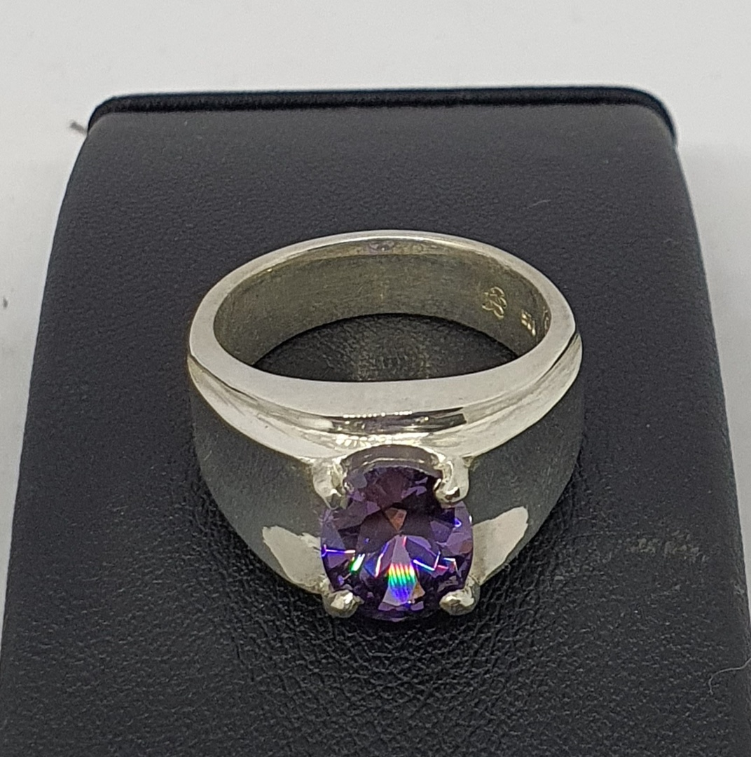 Wide silver band ring with purple gemstone image 2