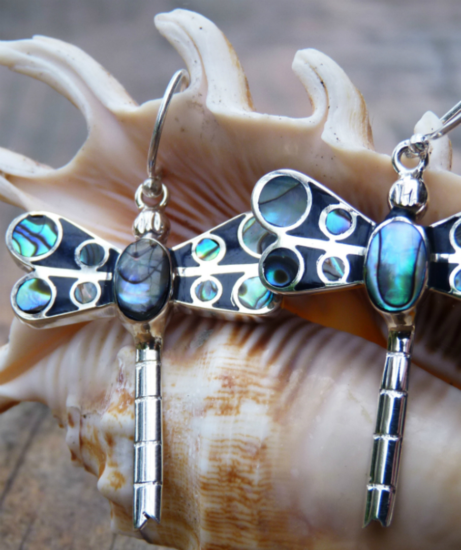 Inlay paua shell - dragonfly earrings image 1