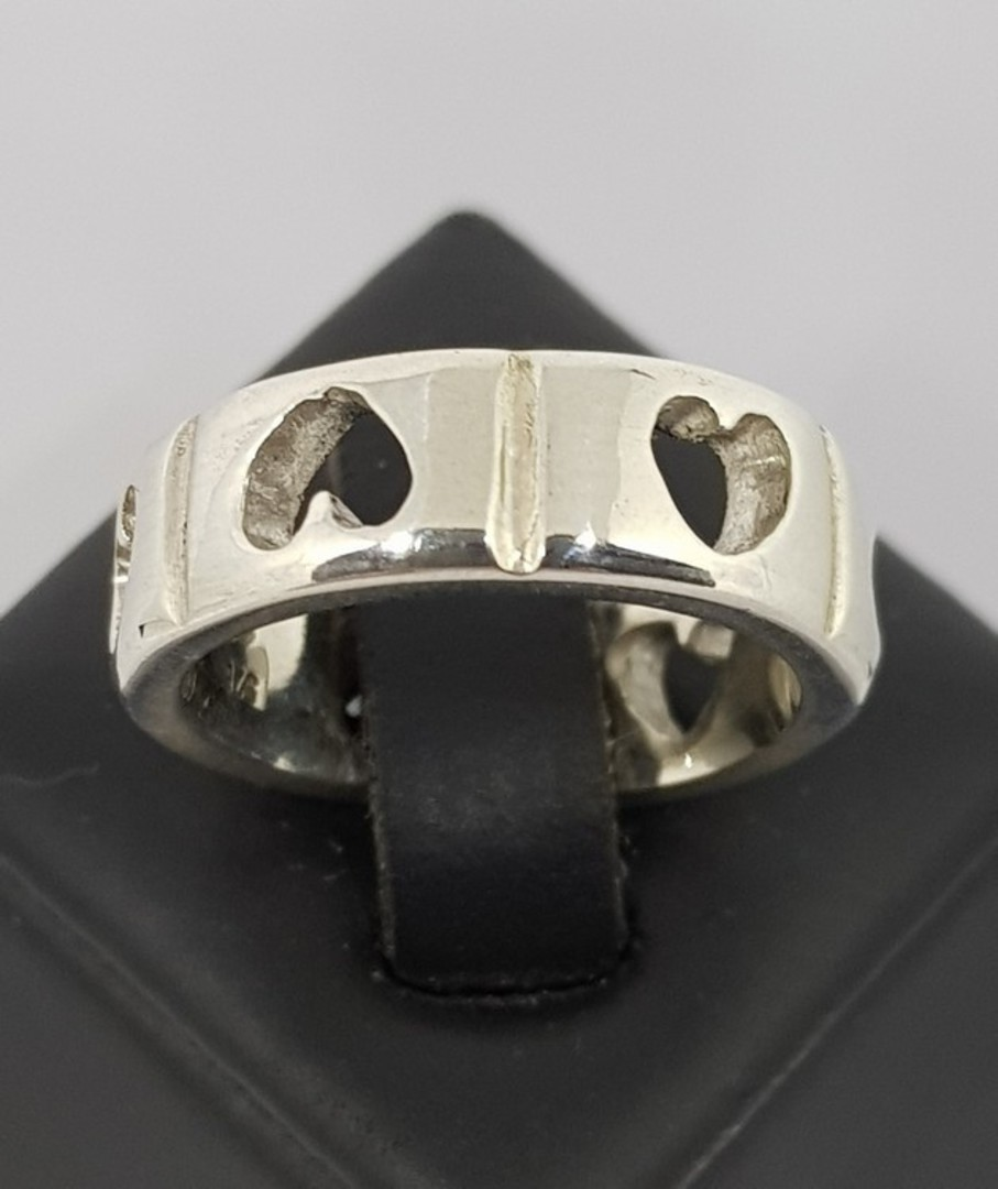 Sterling silver heart ring band - made in NZ image 0