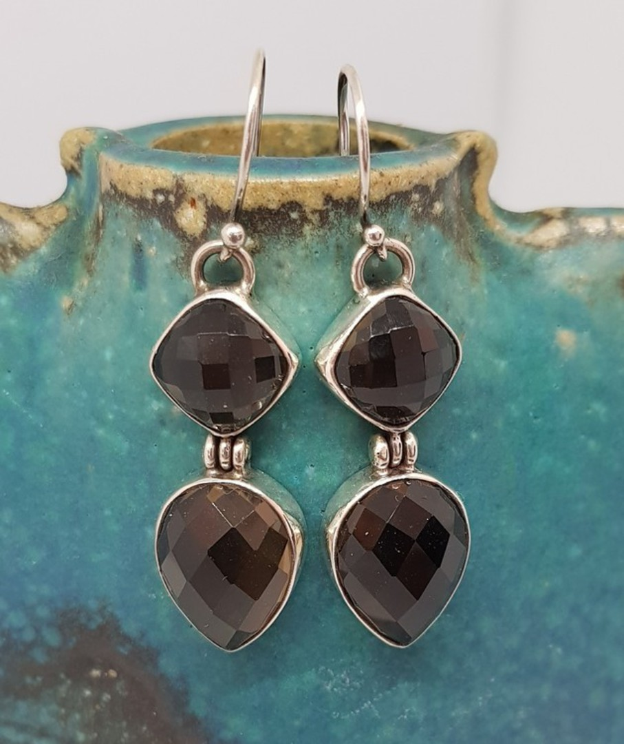 Long elegant smoky quartz silver earrings image 0