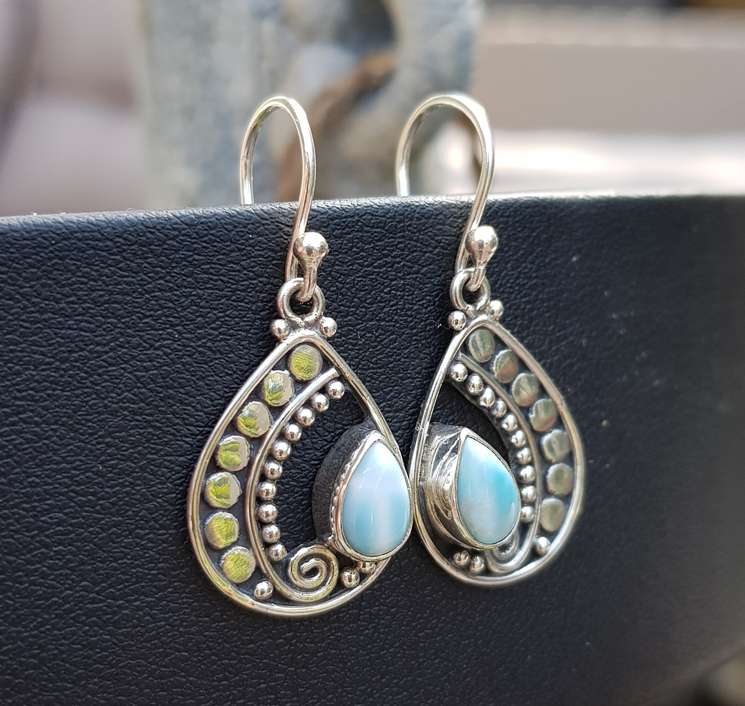 Stunning open silver teardrop earring with larimar gemstone image 1