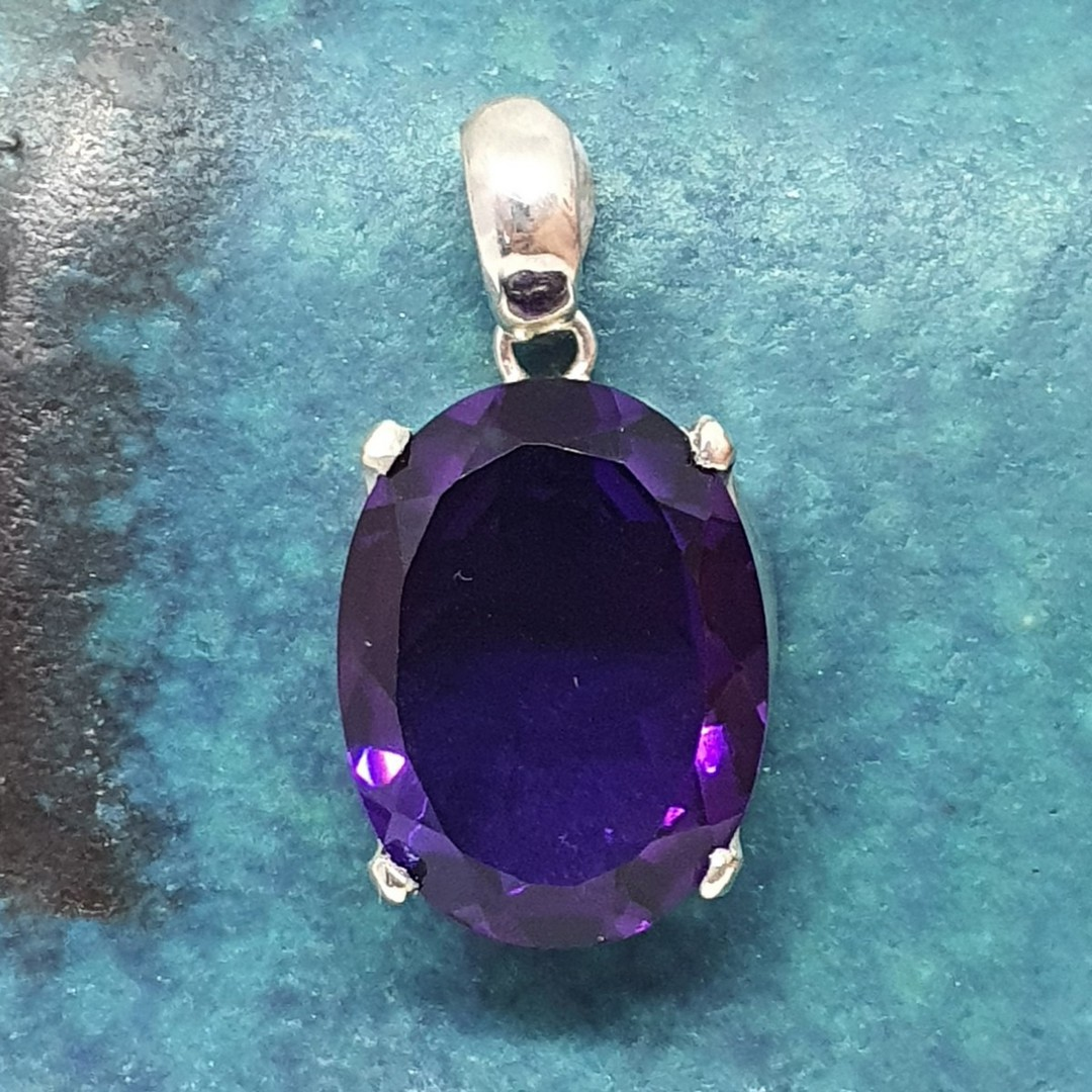 Made in NZ, large oval purple gemstone pendant image 0