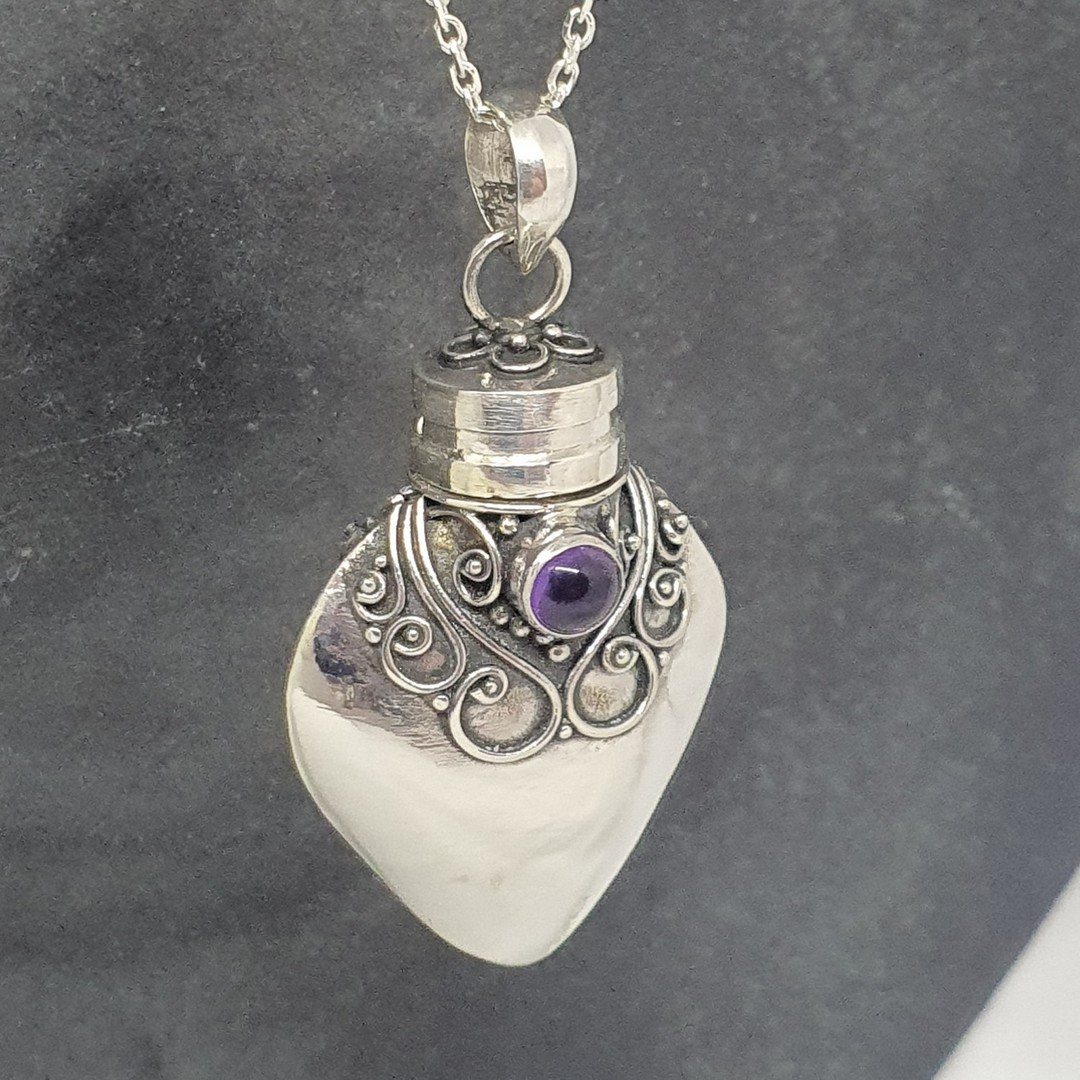 Sterling silver prayer box, genie bottle amethyst pendant image 1