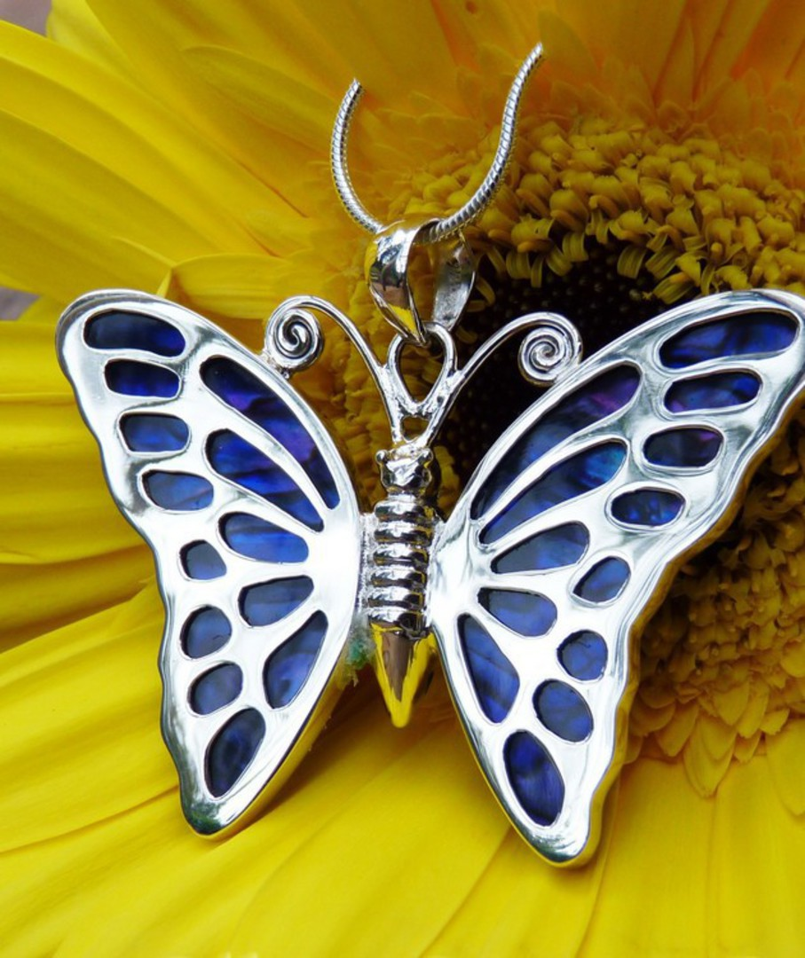 Sterling silver purple paua shell butterfly pendant image 0