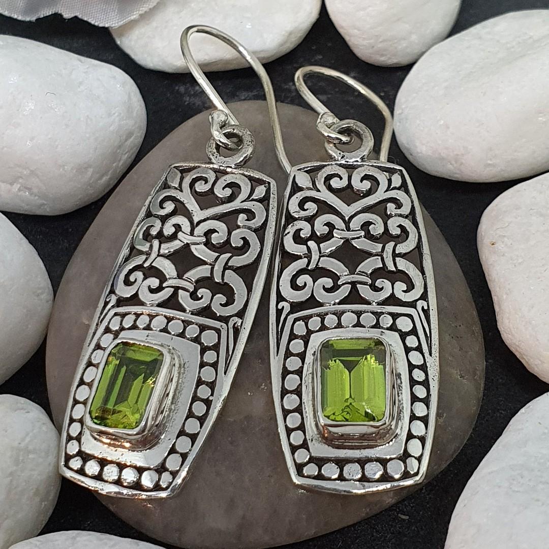 Silver peridot cz earrings in long rectangle filigree image 1