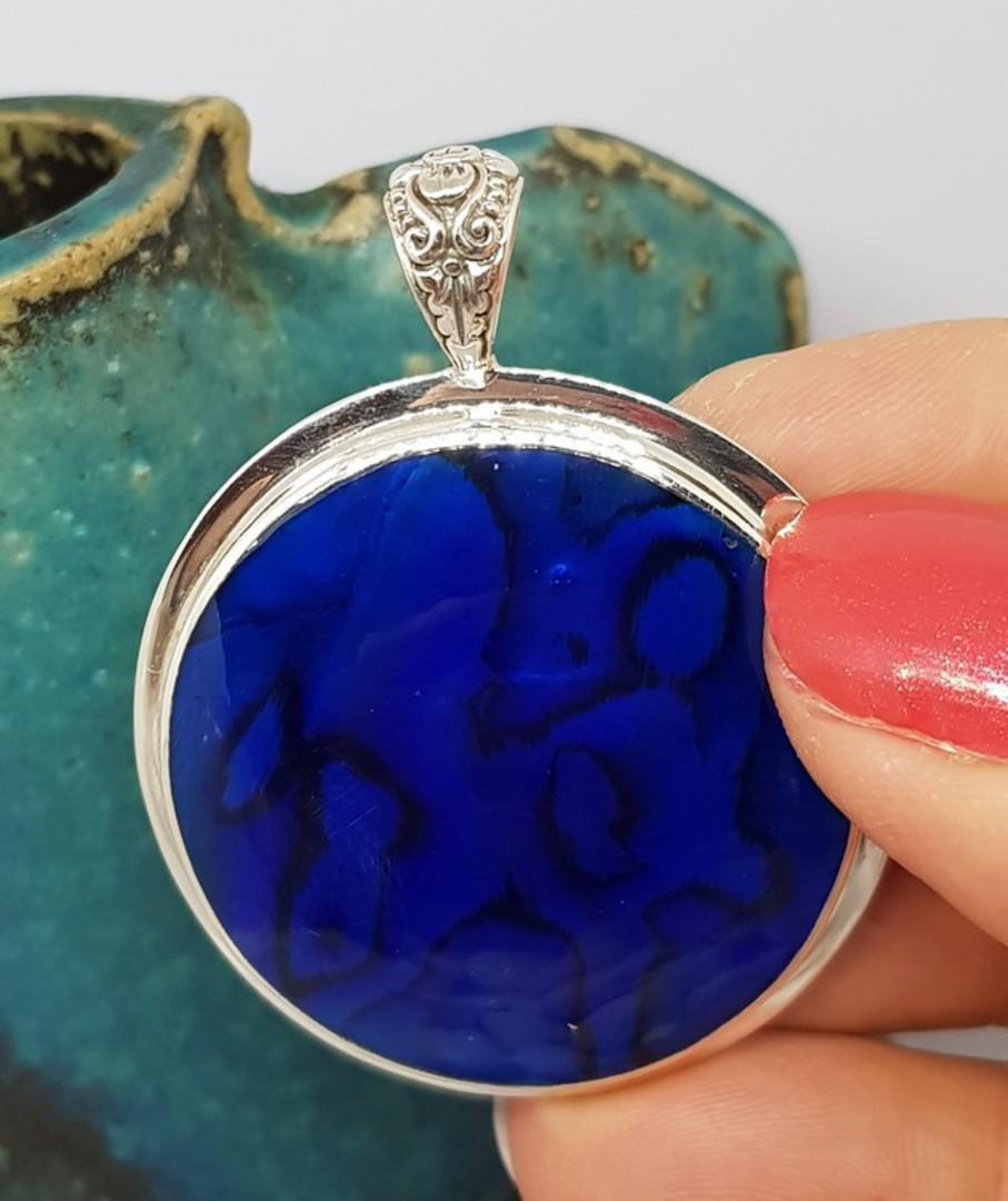 NZ Paua Shell Pendant - dyed BLUE! image 2