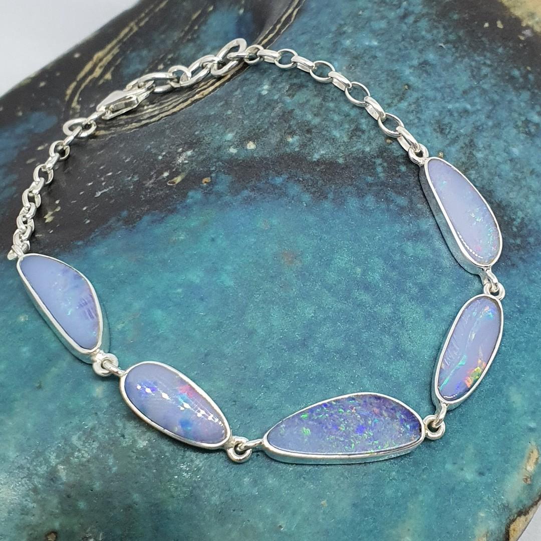 Delicate sterling silver opal bracelet image 4