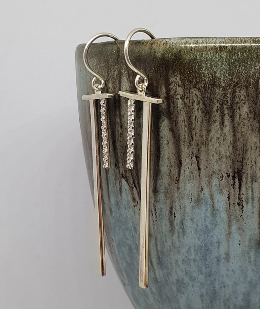 Elegant sterling silver long stem earrings with cz gems image 1