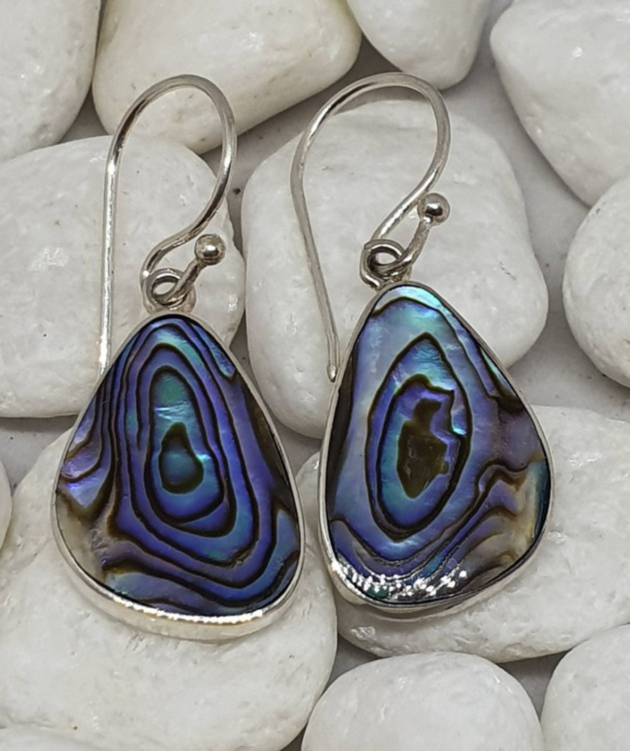 Sterling silver paua shell earrings - last pair image 0
