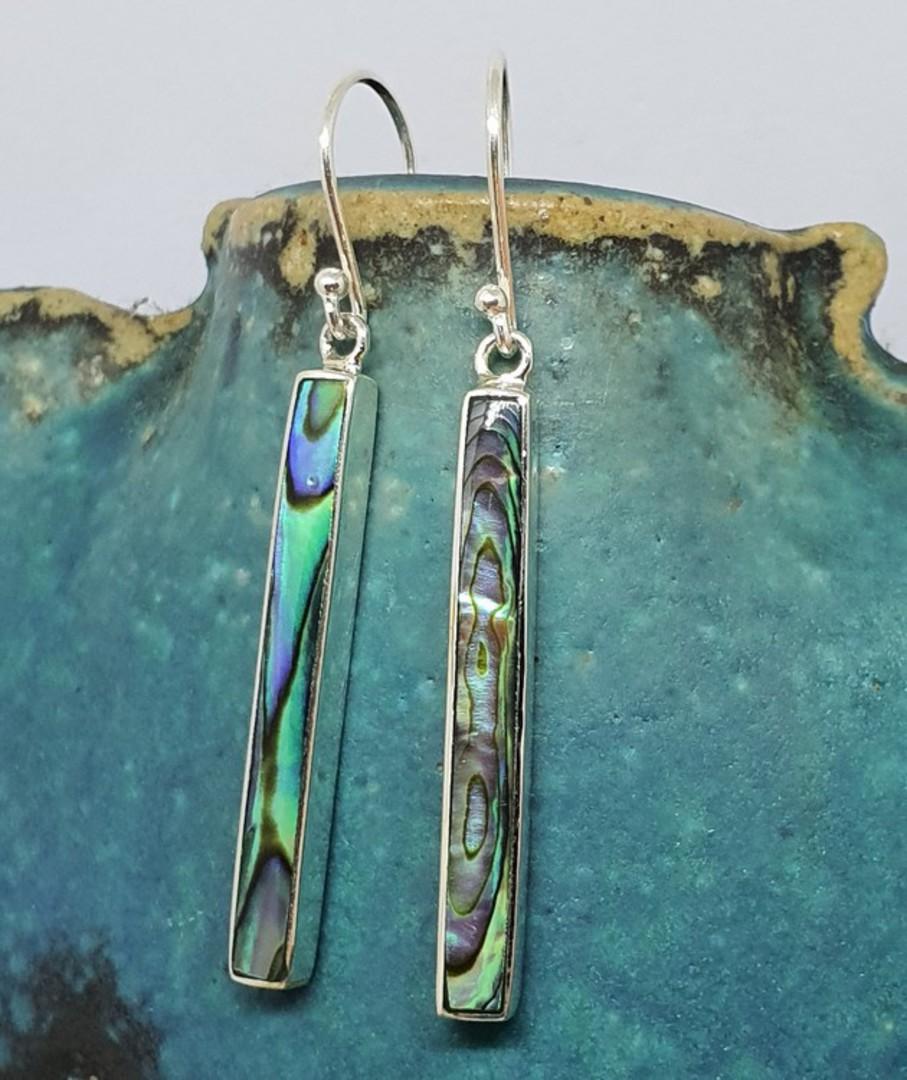Sterling silver narrow paua shell hook earrings image 2