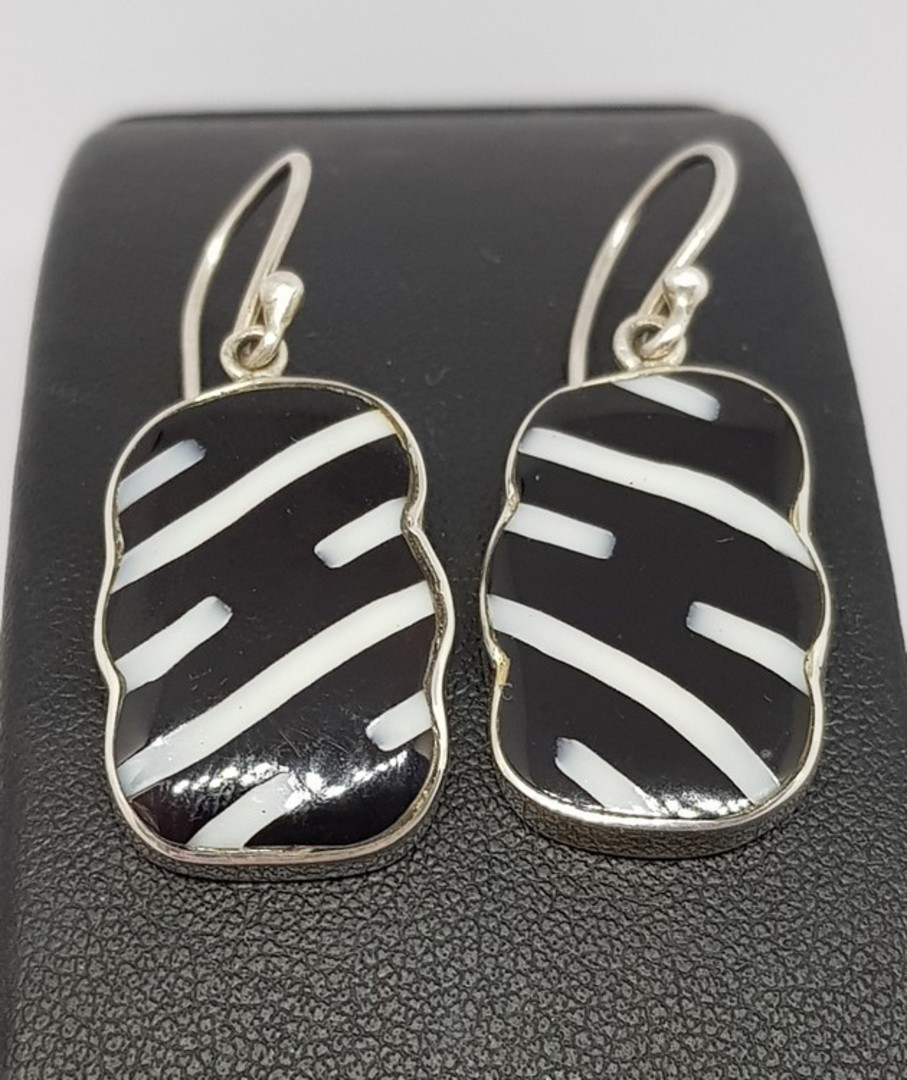 Black and white rectangle silver earrings image 3