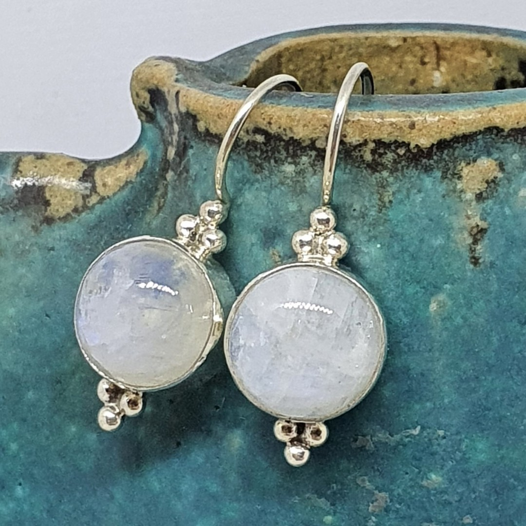 Silver moonstone earrings image 0