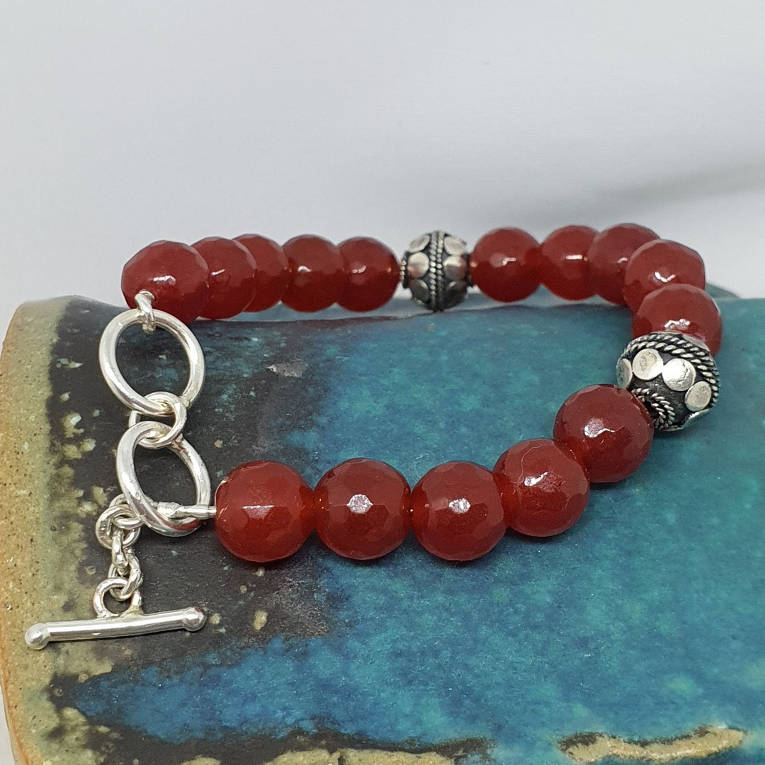 Natural carnelian beads and silver bracelet image 2