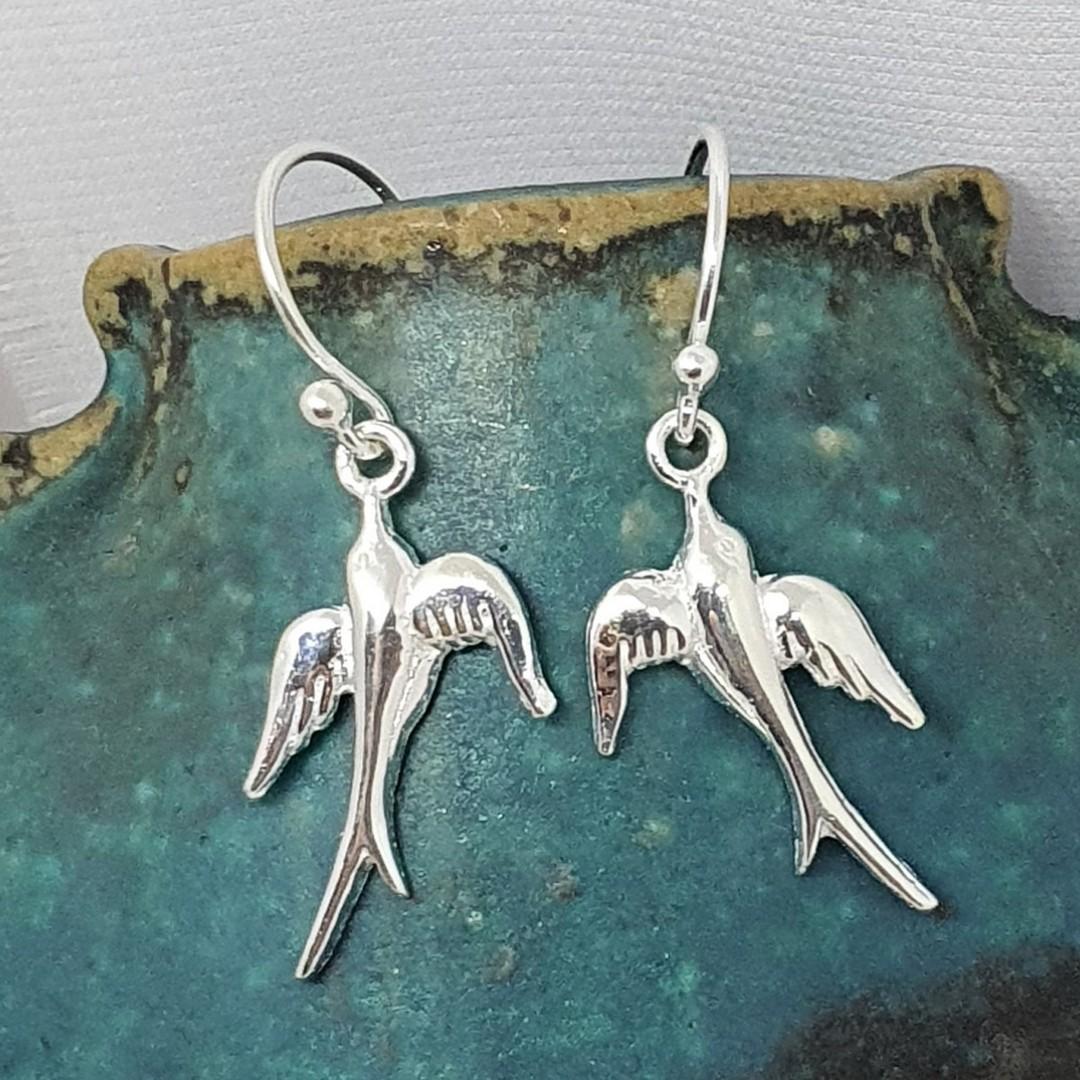 Sterling silver swallow bird earrings image 2