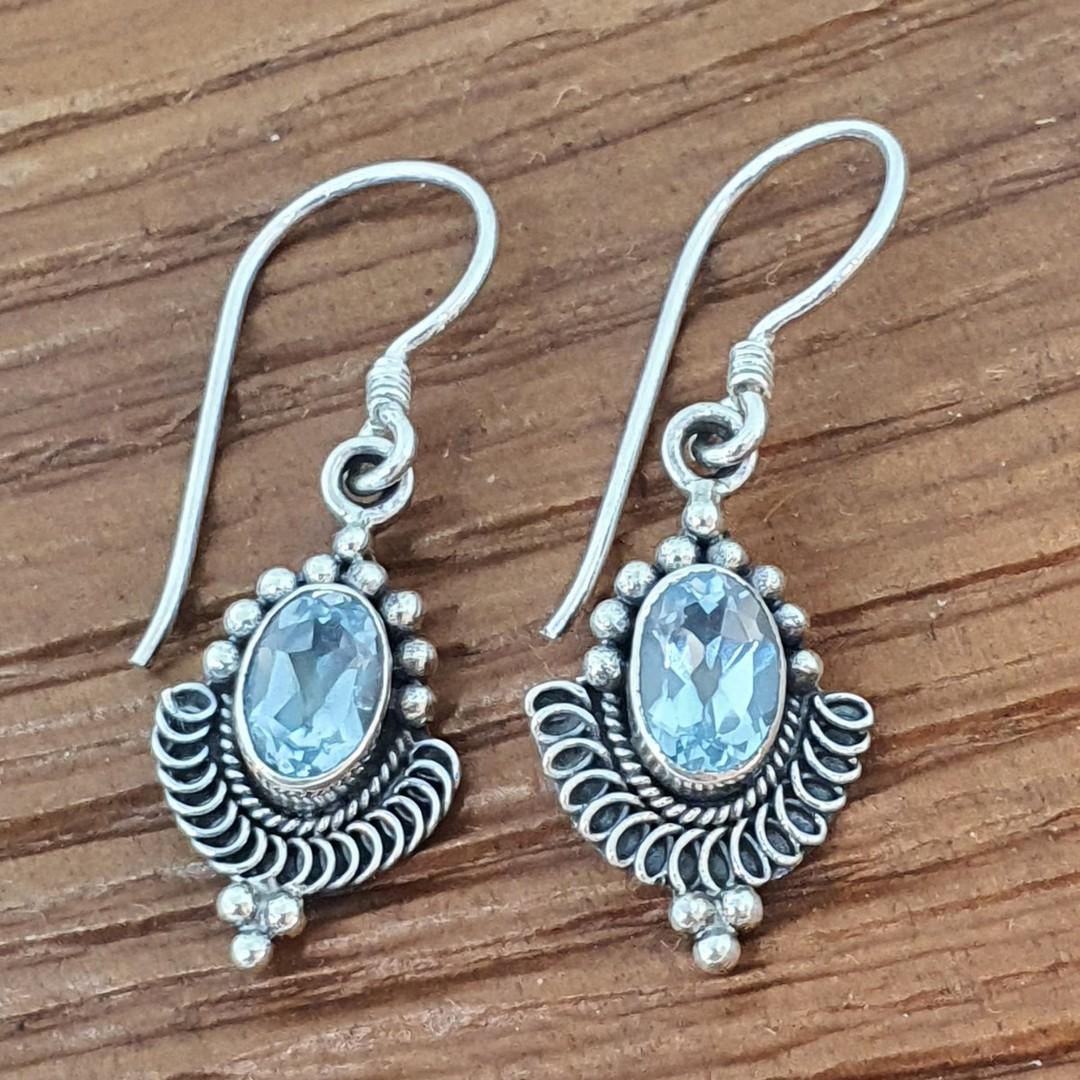 Sterling silver delicate blue topaz earrings image 2