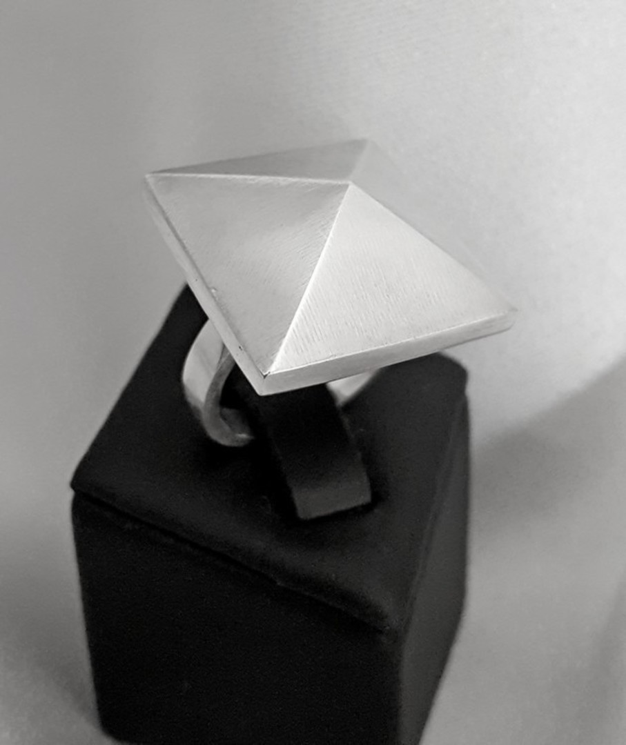 Funky pyramid ring, sterling silver, made in NZ image 0
