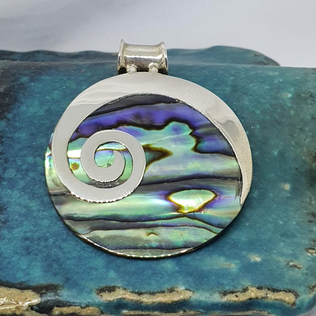 NZ Paua Shell Silver Pendant with Koru image 3