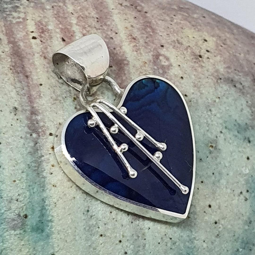 Deep blue shell silver heart pendant image 0