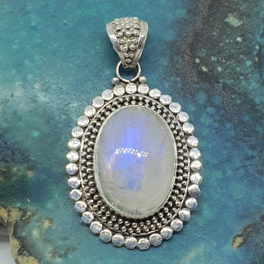 Sterling silver oval moonstone pendant image 0