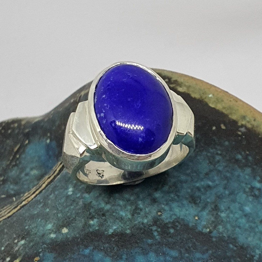 Sterling silver oval lapis lazuli ring, made in NZ image 4