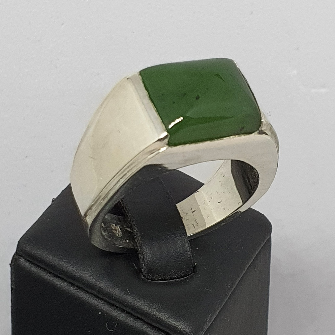 Mans signet ring, NZ Greenstone and sterling silver image 0