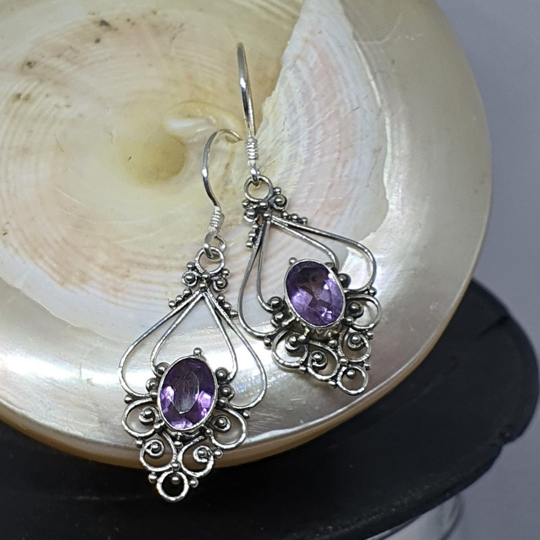 Silver filigree earrings with purple gemstone image 1