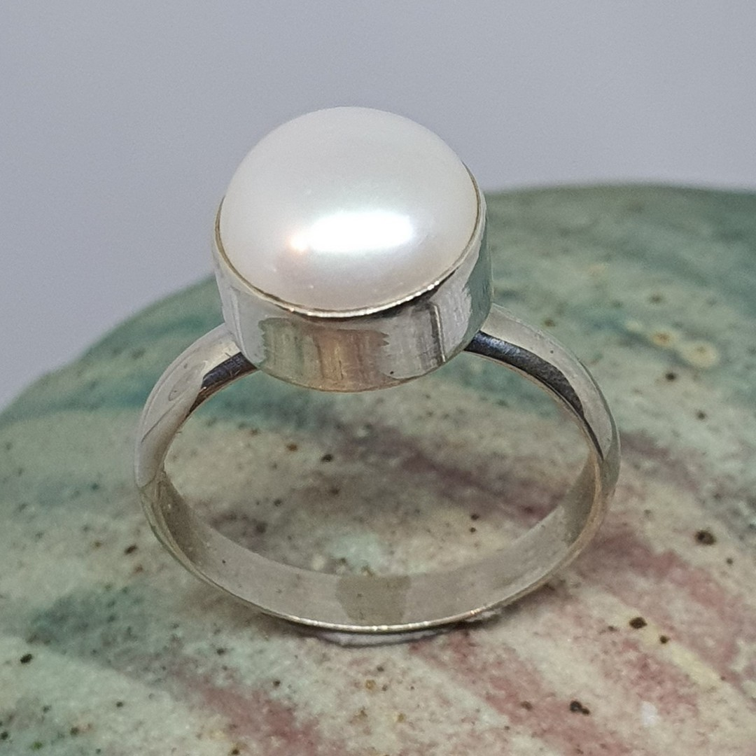 Sterling silver little pearl ring image 0