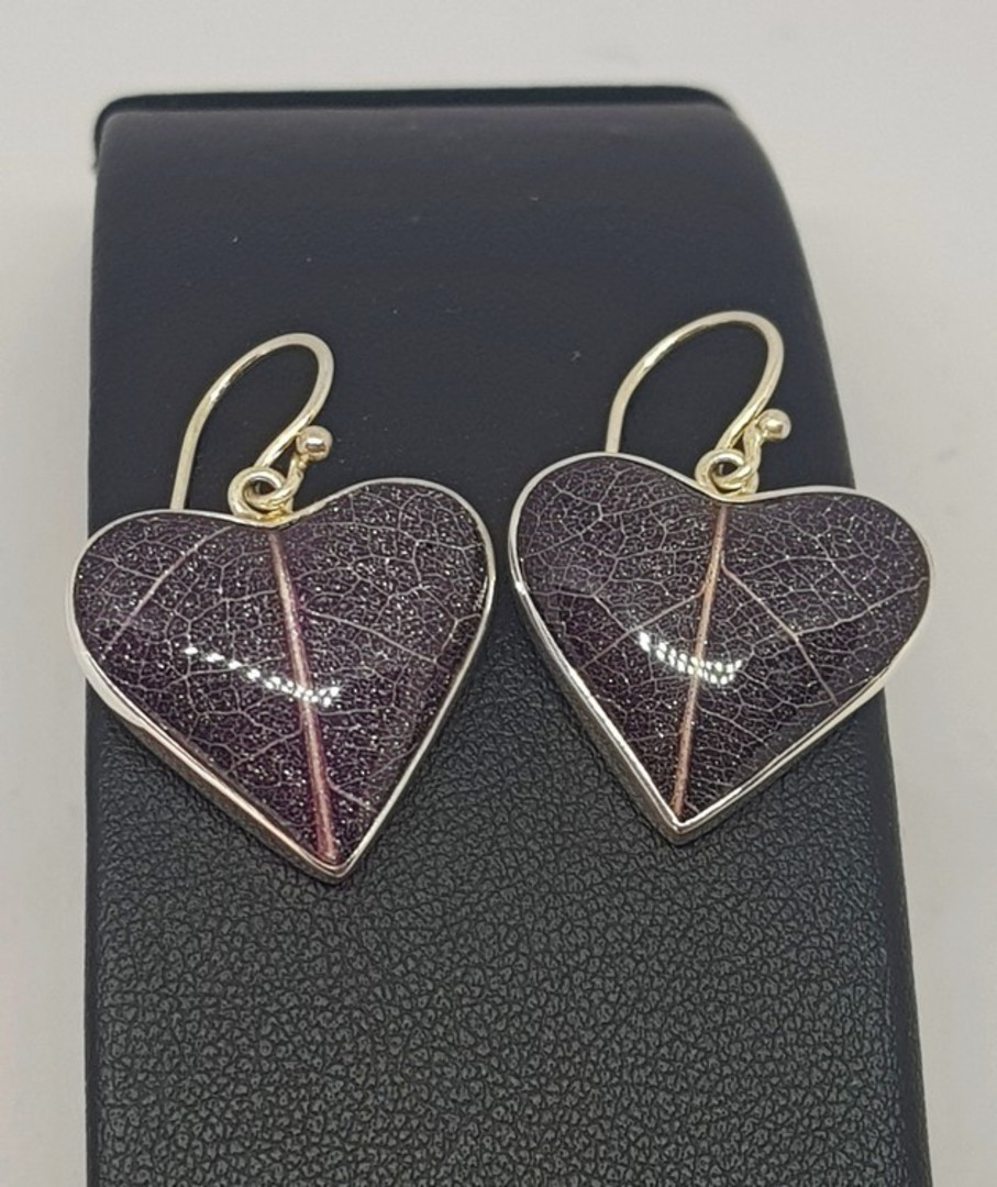 Purple skeleton leaf silver earrings - heart shaped image 0