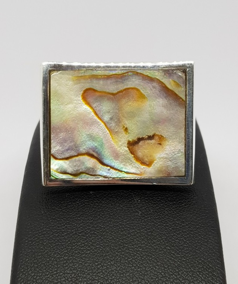 Large designer ring inset with paua shell image 1