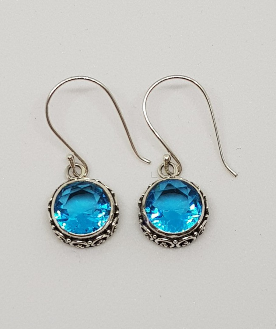 Dazzling blue topaz silver hook earrings image 1