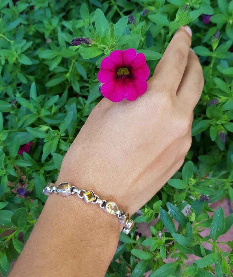 Sterling silver citrine gemstone bracelet image 2