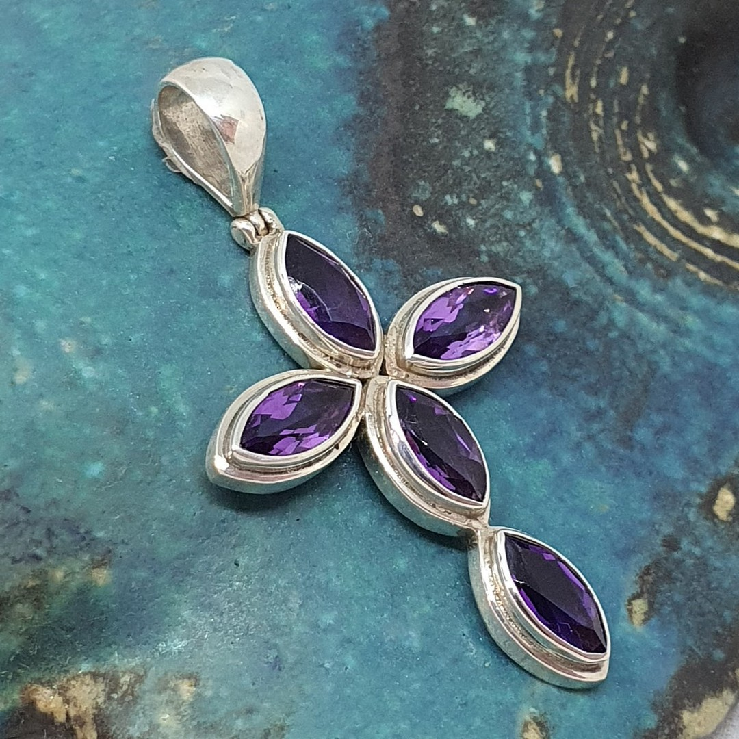 Sterling silver cross pendant with purple gemstones image 0