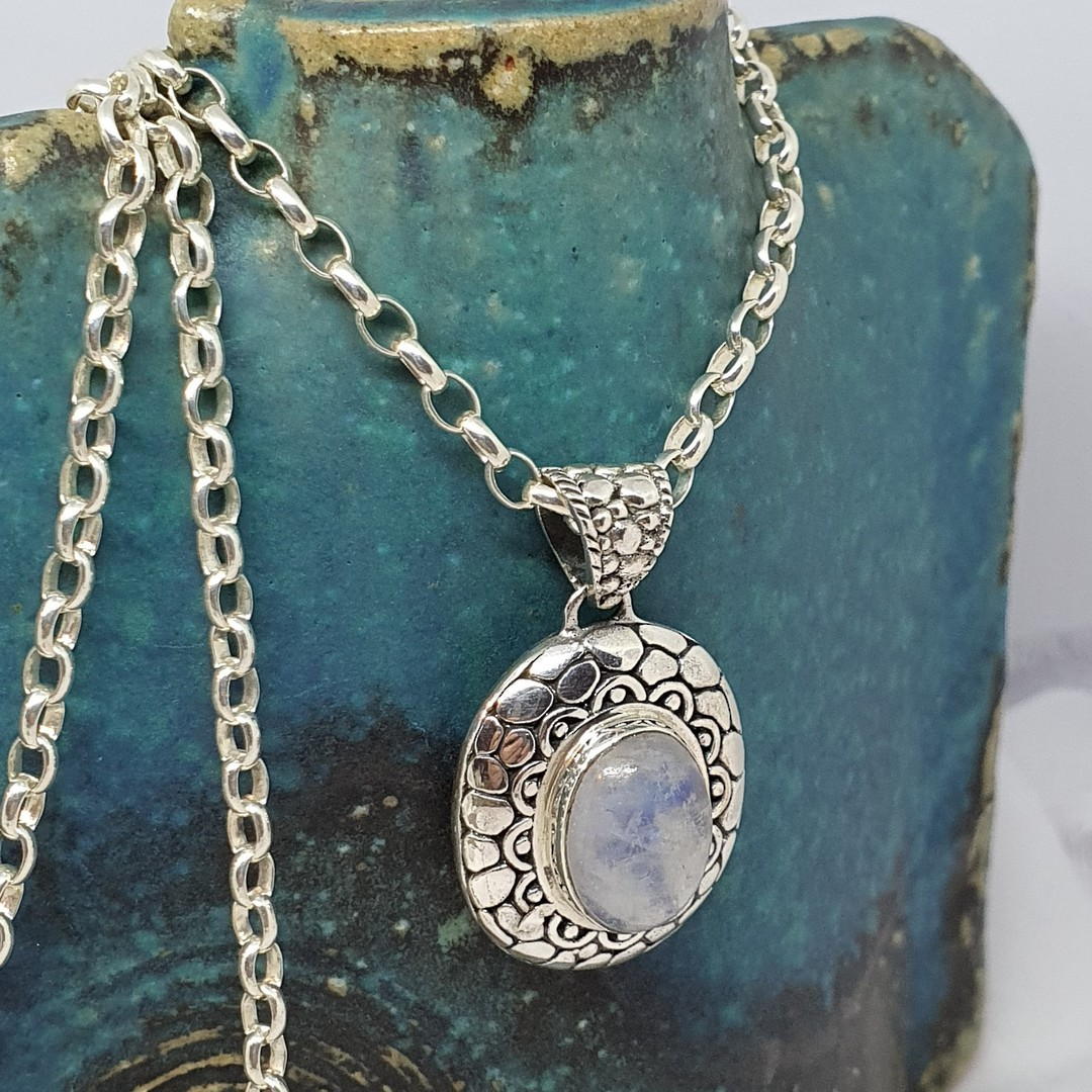 Sterling silver oval moonstone pendant image 4