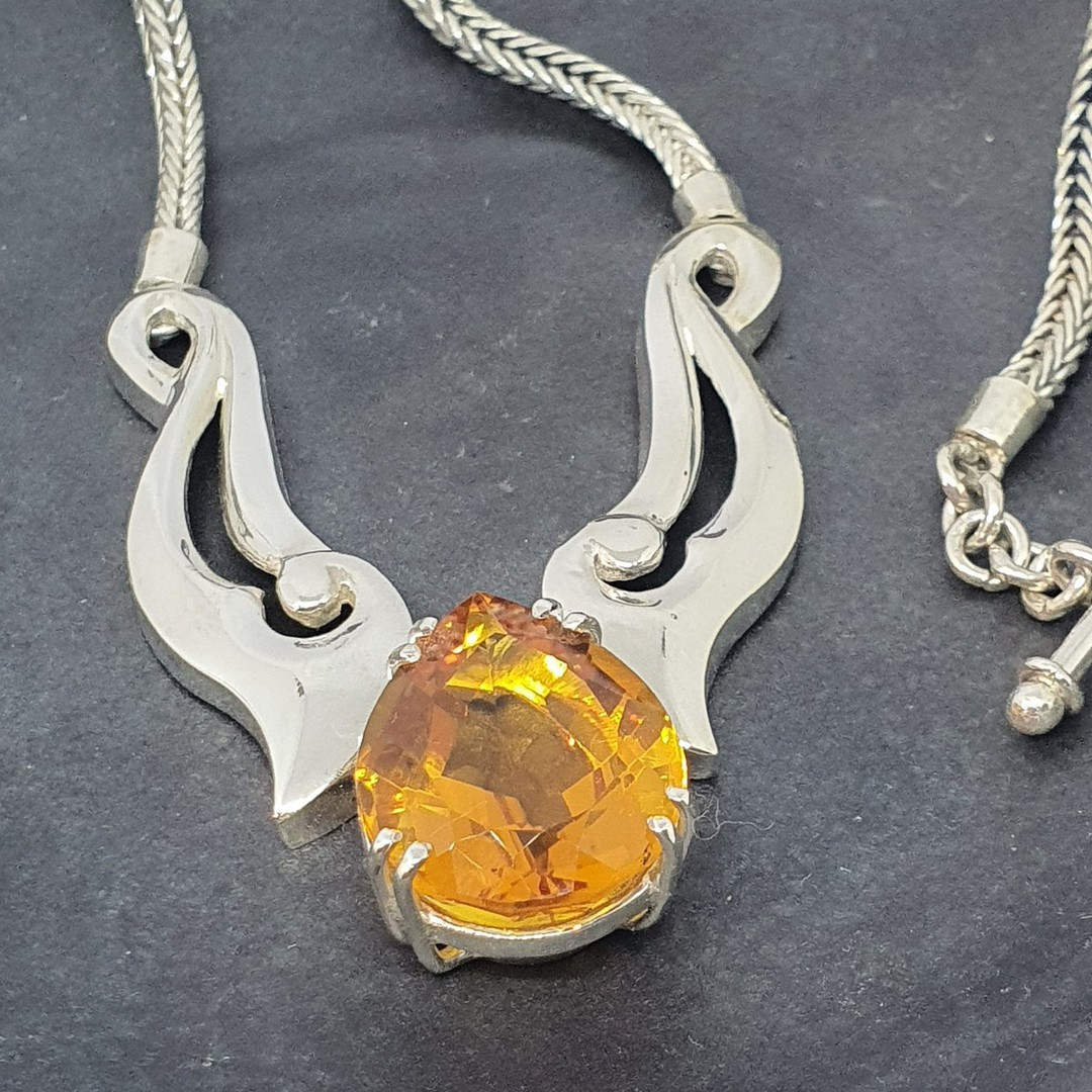Made in NZ  - Silver citrine necklace image 2