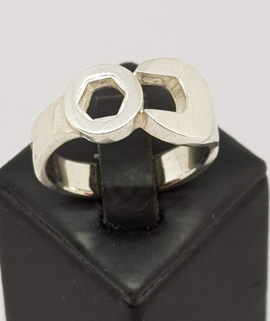 Men's sterling silver spanner ring , NZ made image 1