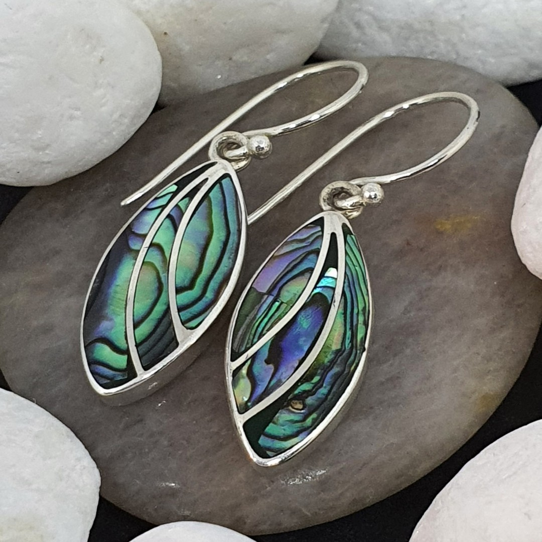 Sterling silver paua shell earrings image 0