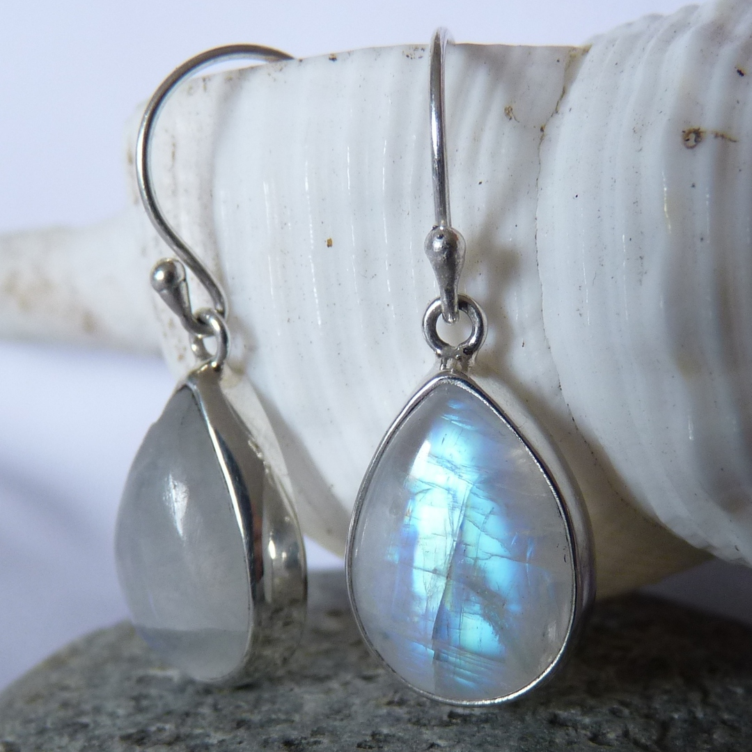 Teardrop moonstone silver earrings, sterling silver image 3