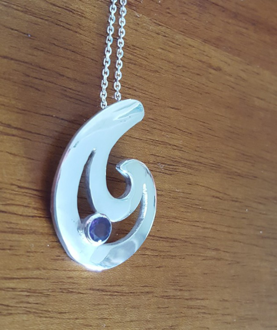 Made in NZ, silver fish hook pendant with purple stone image 0
